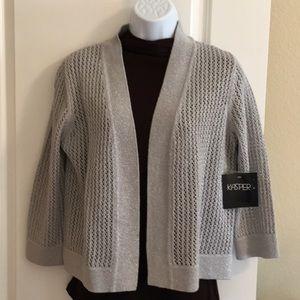 Kasper Silver Metallic Dressy Sweater Size M